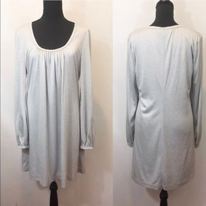 Trina Turk Metallic Silver Long Sleeve Dress